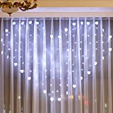 H+K+L Lover Heart Curtain Lights Party Wedding Fairy Outdoor Xmas Garden Decoration Lights for Bars, Home, Windows, Concerts (White)