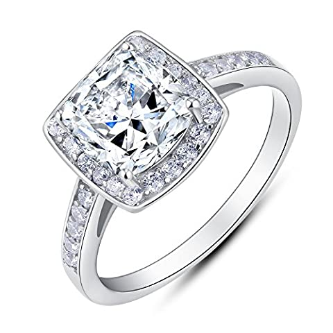 Sterling Silver Vintage Style Cushion Cut Cubic Zirconia Bridal Engagement Ring (3 CT.T.W) (Vintage Ring Size 5)