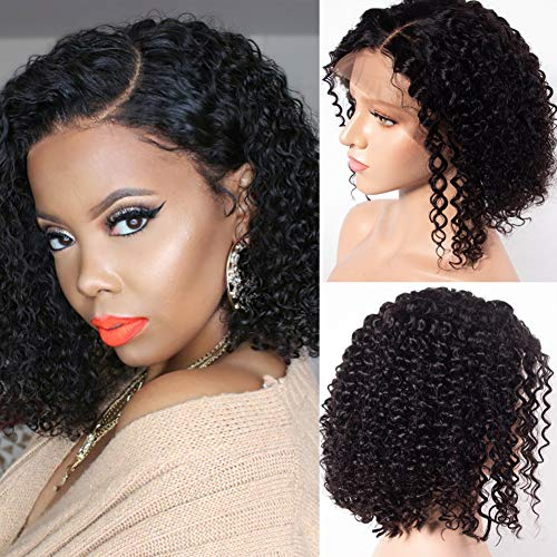 Star Show Human Hair Wigs Short Curly Hair Bob Wigs Brazilian Hair 13x4 Lace Front Wig Side Part Pre Plucked and Bleached Knots Natural Color (10 inch bob wig)
