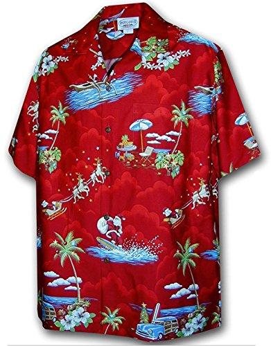 Pacific Legend Christmas Santa Claus Hawaiian Shirt (3XL, Red) (Santa Claus Colors)