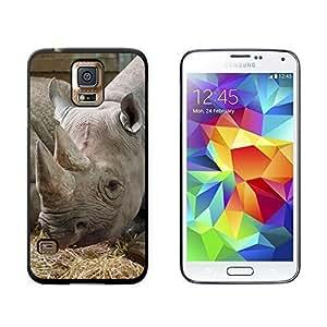 New Style African Rhino Rhinoceros - Endangered Black White - Snap On Hard Protective Case for Samsung Galaxy S5 - Black wangjiang maoyi