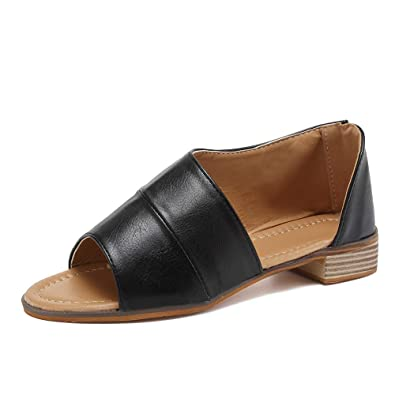c3adffad13 MORNISN Womens Open Toe Flat Sandals Faux Leather Cut Out Asymmetrical Low Heels  Sandals Summer Casual