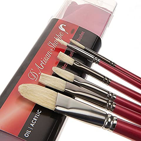 Oil Acrylic Paint Brushes 100% Natural Chungking Hog Hair Bristle in Portable Organizer Plastic Container. 6pc Filbert Flat and Round Paintbrush (Flat Top Paint Brush)