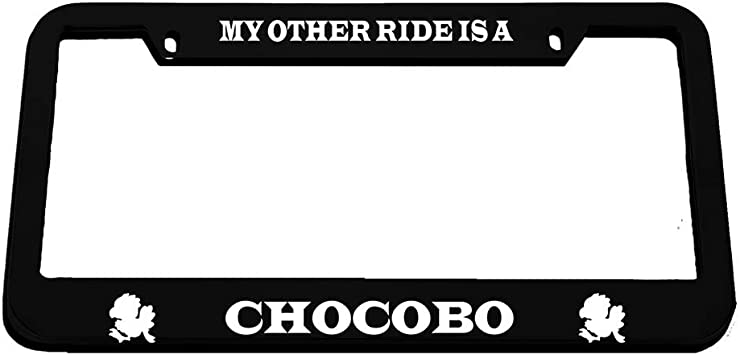 MY OTHER RIDE IS A CHOCOBO Chrome Metal License Plate Frame Tag Holder