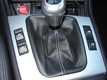 RedlineGoods Shift Boot Compatible with BMW 3-Series E46 1999-04 Medium Gray Leather-Black Thread