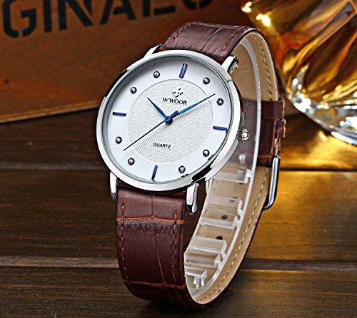 Men's Luxury Brand Fashion Business Quartz Watch Men's Ultra thin Genuine Leather Watch Brown
