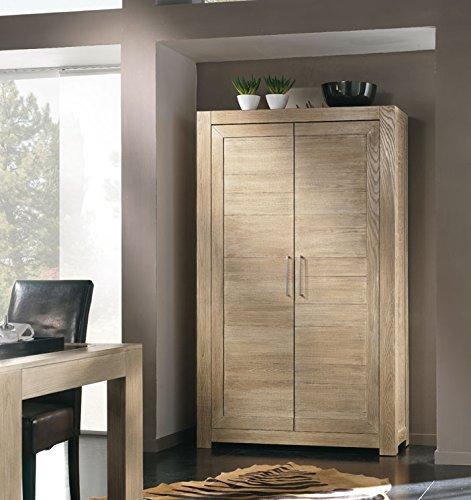 Armario de fresno natural, Mueble de estilo moderno. Medidas: A120xP42xH200cm.