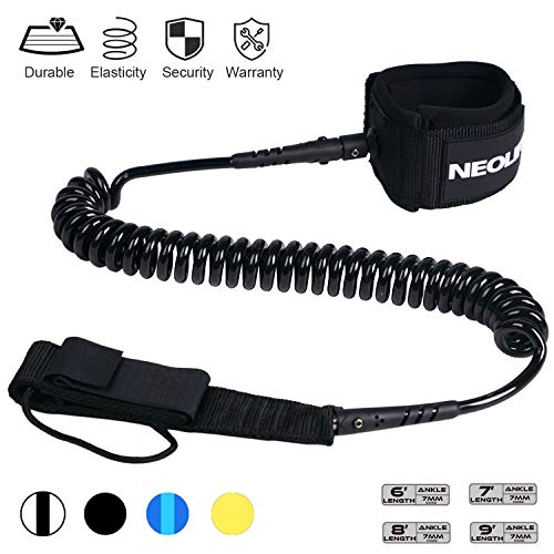 Neolife Coiled Premium Surfboard Leash,Stand Up Paddle Board Leash Ankle Strap Leg Rope with Double Stainless Steel Swivels for Longboard Snowboard Sup Leashes(7Ft ()