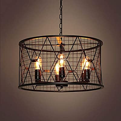 NIUYAO Industrial 6 Light Chandelier Retro Rustic Antique Barn Pendant Ceiling Lights Hanging Lamp Fixture with 21.7''W Cylinder Metal Round Cage Black