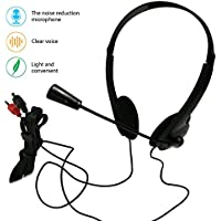 Wired Stereo Headset PC Headphone with Microphone 3.5mm Computer Earphones Noise Cancelling Business Headsets for Skype Call Center Phones PC Laptops MP3 MP4 Player Kids Men Women (headphone with mic)