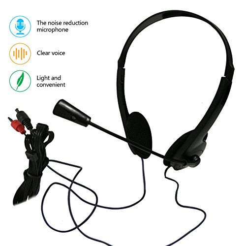 Classroom Computer (Wired Stereo Headset PC Headphone with Microphone 3.5mm Computer Earphones Noise Cancelling Business Headsets for Skype Call Center Phones PC Laptops MP3 MP4 Player Kids Men Women (headphone with mic))