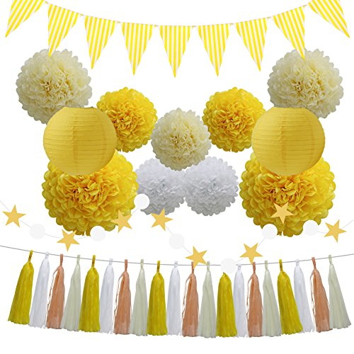 33pcs party decoration supplies set yellow tissue paper pom poms 33pcs party decoration supplies set yellow tissue paper pom poms flowers paper lanterns tassels hanging mightylinksfo