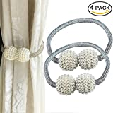 YIDIE 4 Pieces Curtain Tiebacks Classic European Window Holdbacks Home Office Decorative Drapes Holders with Strong Magnetic, Silver/2 Pair