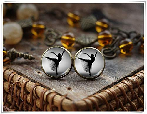 hong ben xie chang Ballerina Stud Earrings,Black and White Earrings, Dancing Jewelry,Dome Glass Jewelry, Handmade