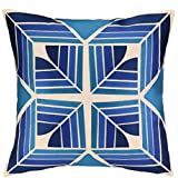 trina turk residential linen embroidered pillow gridley blue - Trina Turk Bedding