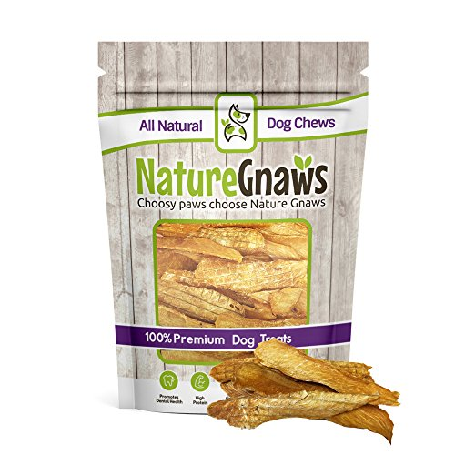 - Nature Gnaws Chicken Jerky Strips for Dogs - 100% Premium All-Natural Real Chicken Breast Dog Treats - Delicious & Healthy Snack - Made in USA - 7 oz (25 to 30 pieces)