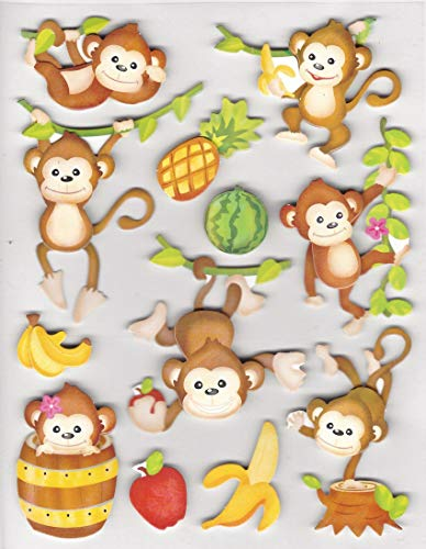 3 Dimensional Whimsical Monkeys Stickers Appliques Set of 12 ()