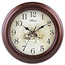 HENSE Vintage Wall Clock Concise Design Nostalgia style Living Room Bedroom Ultra Mute Silent Quartz Movement Solid Wood Round Wall Clock (10inch, Happy Time)