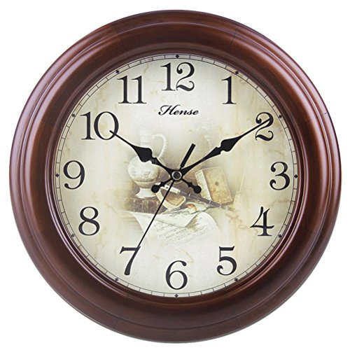 Quartz Wall Mute Clock (Vintage Analog Wall Clock with Concise Design Nostalgia style Ultra Mute Silent Quartz Movement Solid Wood Round Wall Clock Best For Kitchen Living Room Bedroom Decor HW77 Brown 10 inch Happy Time)