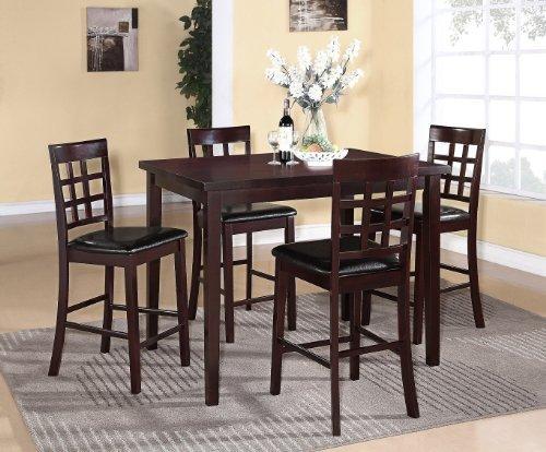 Roundhill Furniture Poka 5PC Espresso Finish Rectangle Wood Counter Height Dining Set