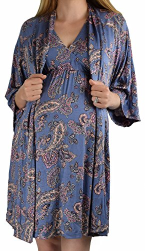 Set Nursing Nightgown - Embrace Your Bump 2 in 1 Super Soft Maternity & Nursing Nightgown & Robe Set (Blue & Lilac Paisley, Large)