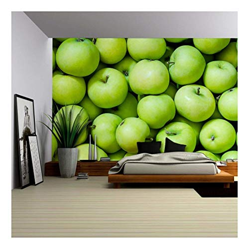 wall26 - a Lot of Green Apples as a Background - Removable Wall Mural | Self-Adhesive Large Wallpaper - 66x96 ()