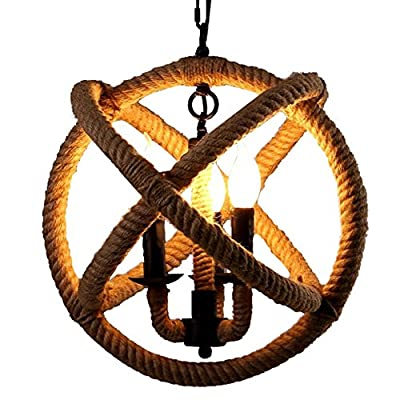 BayCheer HL371869 Rope Globe Cage Industrial Pendant Light - Ceiling Lighting - Chandelier with 3-light