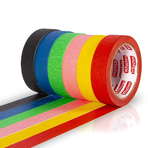 XFasten Multi Colored Painters Masking Tape Kids Craft Set, 1-Inch x 30 Yards, 6 Pack, Multicolor Craft Masking Tape Bulk for Kids, Artists, Curves, DIY, Walls, Watercolor and Paint
