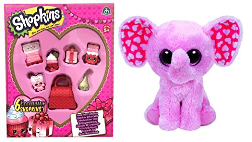 Shopkins Sweetheart Collection 6 Pack PLUS Ty Beanie Boos SUGAR Valentine Elephant