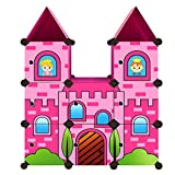 Moon Moon Portable Clothes Closet Wardrobe for Children and Kids, Cartoon Castle Wardrobe, DIY Portable Closet Organizer, DIY Modular Storage Organizer (Pink)