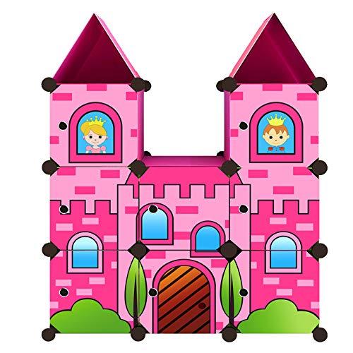 Moon Moon Portable Clothes Closet Wardrobe for Children and Kids, Cartoon Castle Wardrobe, DIY Portable Closet Organizer, DIY Modular Storage Organizer (Pink)