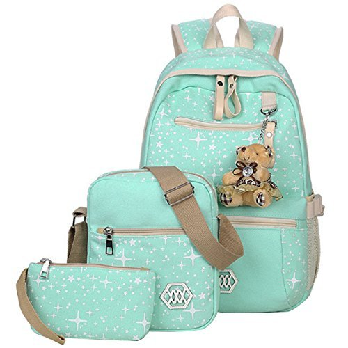 b671b86e4e8b ABage Girls  Canvas Backpack Set 3 Pieces Patterned Bookbag Laptop School  Backpack