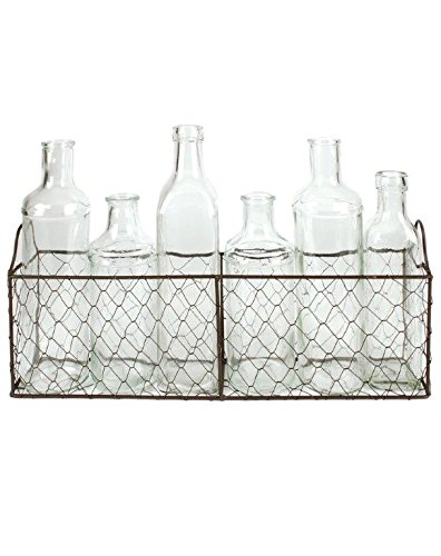 "Blossom Bucket Wire Basket with Six Assorted Size Glass Bottles, 15"" x 10"""
