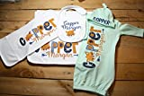 Personalized Baby Gown Hat Bib Burp Cloth Set Monogrammed Customized Applique Embroidered Baby Shower Coming Home Outfit Boy