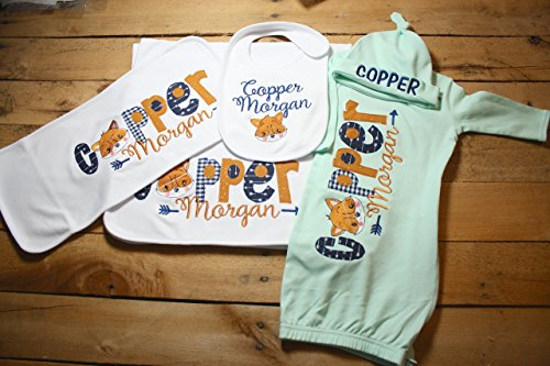 Personalized Baby Gown Hat Bib Burp Cloth Set Monogrammed Customized Applique Embroidered Baby Shower Coming Home Outfit ()