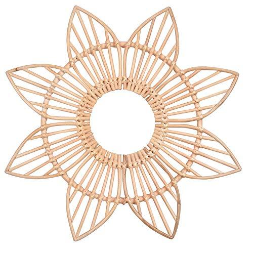 Red-eye Rattan Flower Mirror Frame Boho Vintage Moroccan Style Starburst Mirror Frame -