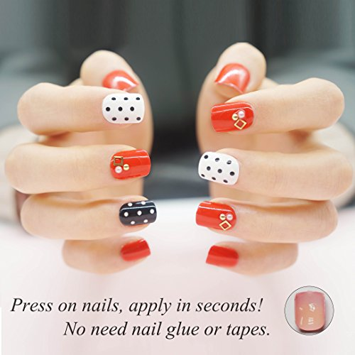 Galleon False Nails Short For Girls Red Nails 24 Pieces Press On