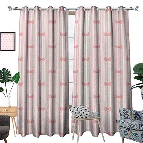 homehot Baby Waterproof Window Curtain Vertical Stripes with Bow Ties Pale Palette Illustration Lovely Valentines Day Blackout Draperies for Bedroom Rose Pale Pink (Twist Ties Stripe)