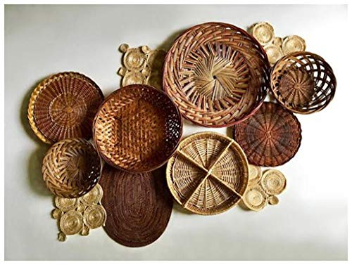 Viet's Hand Rattan Placemats - Vintage Bohemian Sisal Rope & Red Accent Inspired Wall Basket Gallery/Wall Basket Set - Includes 12 Total Items w/Woven, Whimsical Style