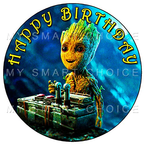 7.5 Inch Edible Cake Toppers - GUARDIANS OF THE GALAXY BABY GROOT Themed Birthday Party Collection of Edible Cake Decorations (Groot Birthday Party Supplies)