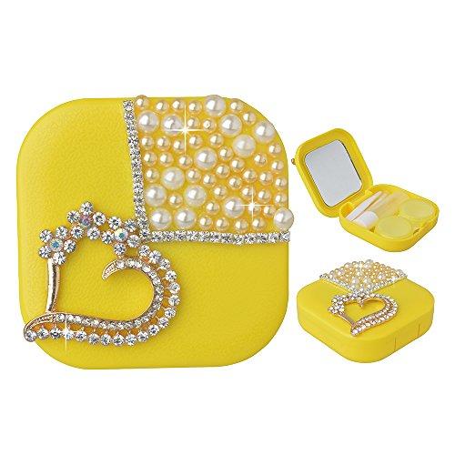 - KAKA(TM Fashion Box Kit 3D Handmade Rhinestone Bling Crystal Design Heart Pattern Decorated Lemon Mini Contact lenses Case
