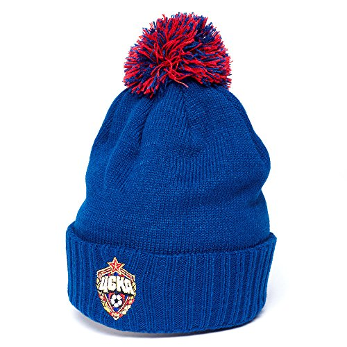fan products of FC CSKA Moscow cuffed beanie hat with pom, dark blue