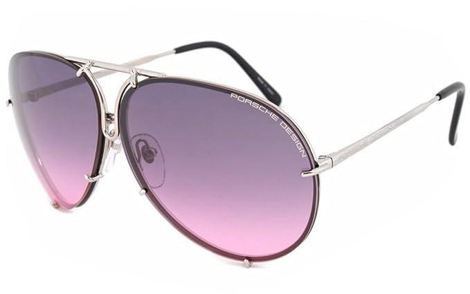 95289cfed59f NEW Porsche Design P 8478 M (69 10 135) Gunmetal Aviator Pink Gradient  Sunglasses  Amazon.co.uk  Clothing