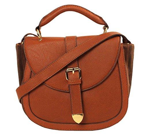 Imoshion Women's Saddle Satchel Genuine Cognac Faux Suede Gusset Leather Crossbody Bag Or Shoulder Bag With Flap Magnetic Closure