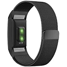 Fitbit Charge 2 Bands Small Large, UMTELE Milanese Loop Stainless Steel Metal Bracelet Strap with Unique Magnet Lock Accessories for Fitbit Charge 2 HR Fitness Tracker