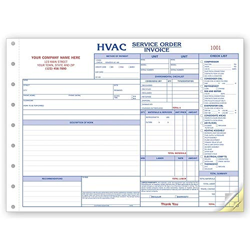 - CheckSimple HVAC Side Stub Service Orders, Specific for The HVAC Industry but Customized for Your Business, Invoice and Jobs Cost with Checklist. (250 Forms)