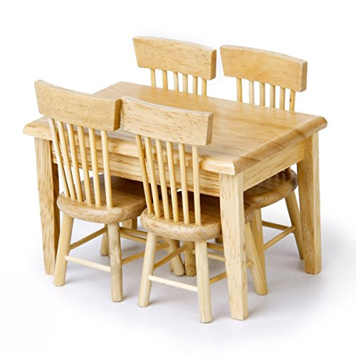 Pixnor 5pcs 112 Dollhouse Miniature Dining Table Chair Wooden Furniture Set (Wood Color) ()
