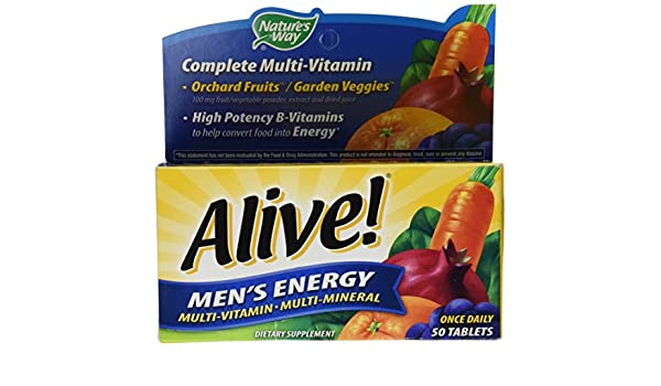 Natures Way, Alive! Mens Energy Multivitamin & Multimineral, x50tabs: Amazon.es: Salud y cuidado personal