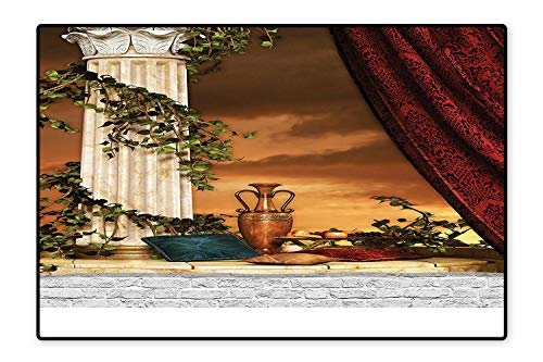 (Printed Floor Rugs Greek Style Scene Climber Pillow Fruits Vine and Red Curtain Ancient Goddess Sunset Color Bath mat Non Slip Absorbent 4'7