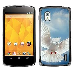 PIG - FOR LG Nexus 4 E960 - Bird Dove Wings Flying Sky God Hope - Dise???¡¯???€????€????¡Ào para el caso de la cubierta de pl?&fnof
